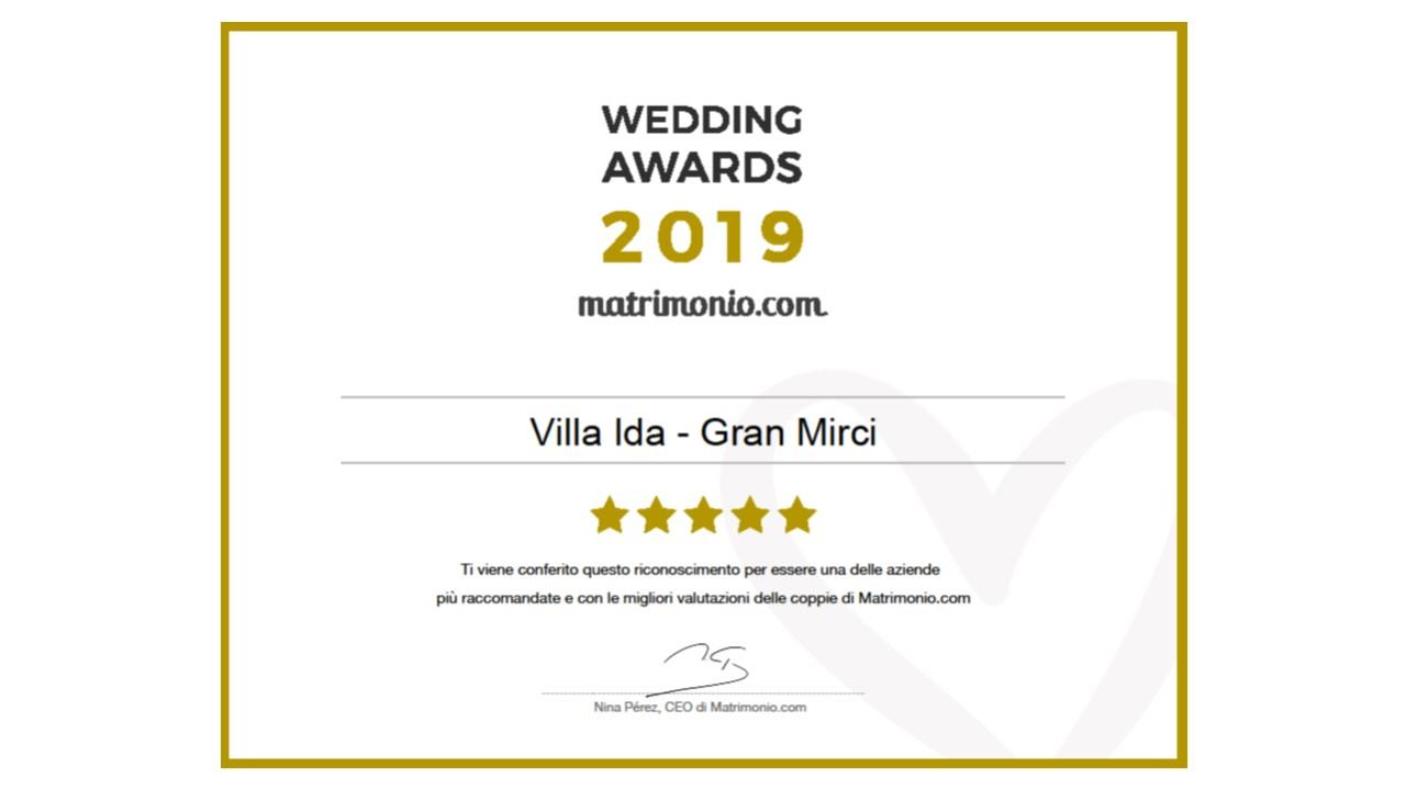 Villa Ida - Gran Mirci, vincitore Wedding Awards 2017 matrimonio.com